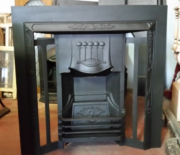 Original cast iron fireplace insert, restored $550 salvage recycled demolition, reproduction restoration, renovation, collectable, secondhand, used, original, old, reclaimed heritage, antique restored wood burner, open fire