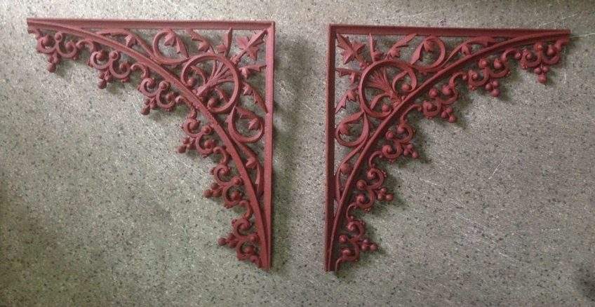 Original cast iron verandah lacework corners x 8, 490 x 490mm salvage recycled demolition, reproduction restoration, renovation, collectable, secondhand, used, original, old, reclaimed heritage, antique restored