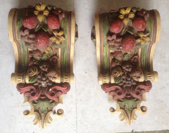 Ornate plaster scroll pair with fruit, some repairs required , w26 x h46cm, $150 each salvage recycled demolition, reproduction restoration, renovation, collectable, secondhand, used, original, old, reclaimed heritage, antique restored