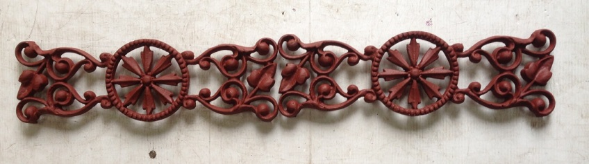 Original cast iron valance panels for verandah 18 available (plus part pieces) L460 x H142mm, total length approx 8.5 metres salvage recycled demolition, reproduction restoration, renovation, collectable, secondhand, used, original, old, reclaimed heritage, antique restored