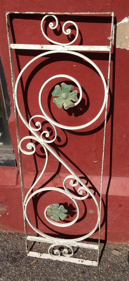 salvaged, recycled, demolition, reproduction, restoration, renovation, collectable, second hand, used, original, old, reclaimed, heritage, Victorian, Edwardia, Deco, Georgian decorative wrought iron panel, 350 mm wide x 1090 mm high , $ 220