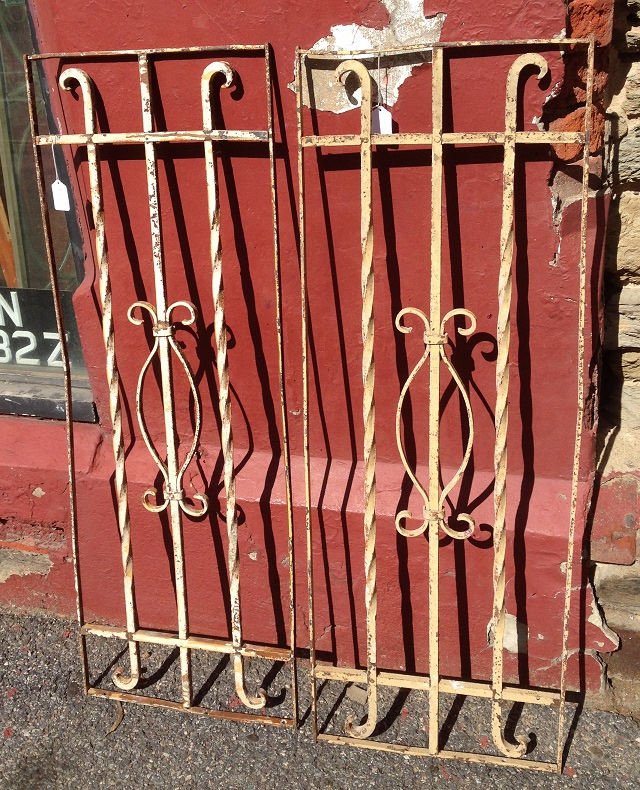 salvaged, recycled, demolition, reproduction, restoration, renovation, collectable, second hand, used, original, old, reclaimed, heritage, Victorian, Edwardia, Deco, Georgian pair of wrought iron panels, great wall or courtyard decorations, 380 mm wide x 1070 mm tall , $ 220 each