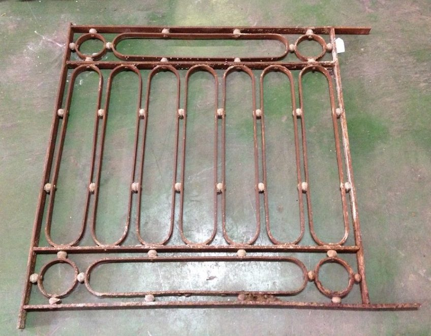 salvaged, recycled, demolition, reproduction, restoration, renovation, collectable, second hand, used, original, old, reclaimed, heritage, Victorian, Edwardia, Deco, Georgian wrought iron panel, 890 mm wide x 950 mm tall , $220