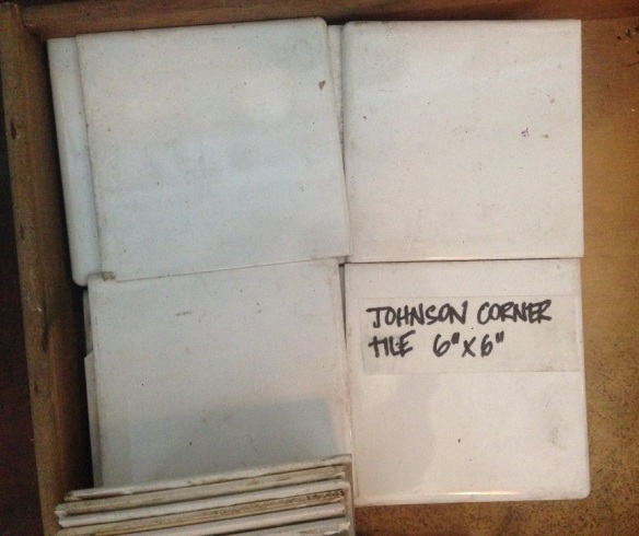 Original Johnson wall tiles, included moulded edge and corner tiles, white, cream and grey, 6 x 6 inch $5 each