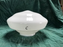 ex Adelaide Railway Station original milk glass / white shades, type in institution buildings 350mm diam 230mm high 150mm gallery , $95 ex Adelaide Railway Station original shades 350mm diam 230mm high 150mm gallery x 4 available $95each