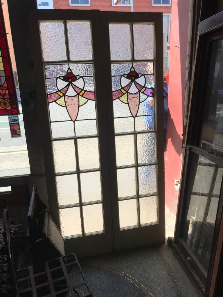 original leadlight french , 3 matching pairs, painted on one side 1065mm wide x2085mm high $650 per pair