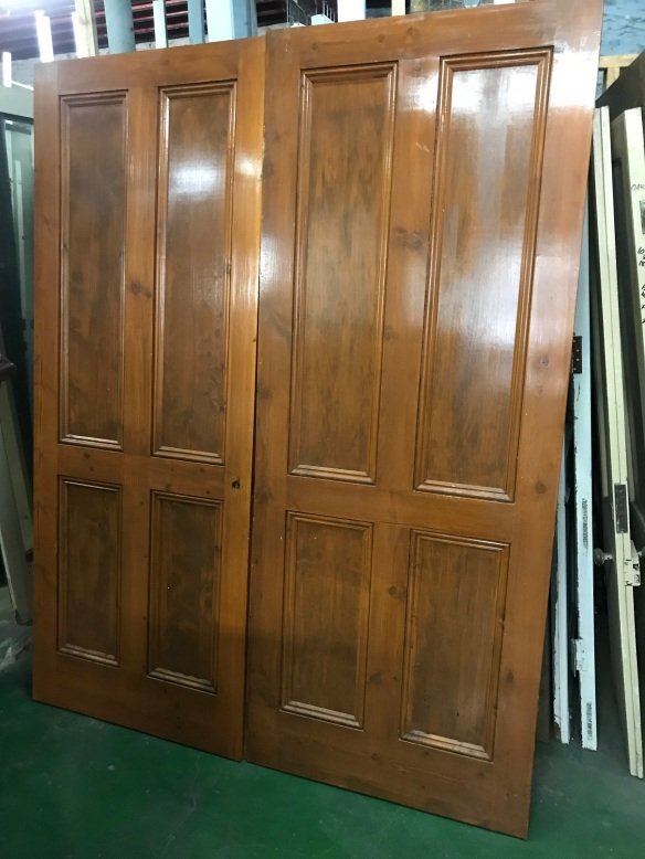 pair of polished reproduction 4 panel french doors, 1605mm wide x 2040mm tall, $330 pair