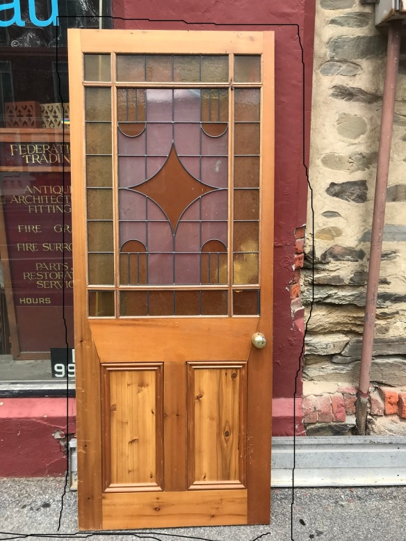 End of Passage/Astragal door with leadlight ( reproduction ) 820 mm wide x 2035 mm tall, $ 345
