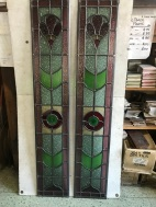 Original leadlight 1075mm high x 195mm wide $330each salvage recycled demolition, reproduction restoration, renovation, collectable, secondhand, used, original, old, reclaimed heritage, antique restored stained glass