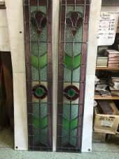 Original leadlight 1075mm high x 195mm wide $330each