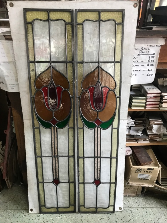 Original leadlight, warm tones yellow through to red, green highlight, clear background, 1160mm high x 230mm wide $330each salvage recycled demolition, reproduction restoration, renovation, collectable, secondhand, used, original, old, reclaimed heritage, antique restored stained glass