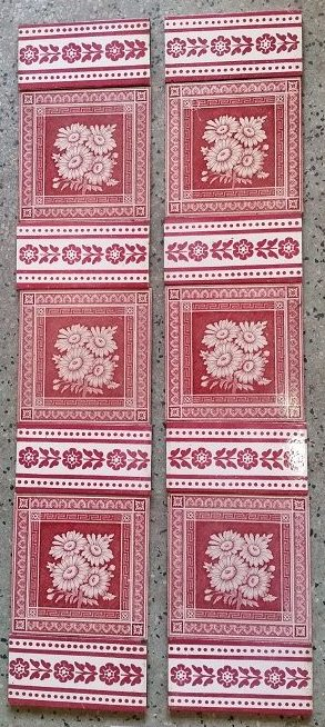 salvaged recycled demolition, reproduction, restoration, renovation,collectable, secondhand, used , original, old, reclaimed, heritage, antique, victorian, edwardian, georgian art nouveau ceramic arts and crafts decorative aesthetic original victorian tile set for fire place grate $190