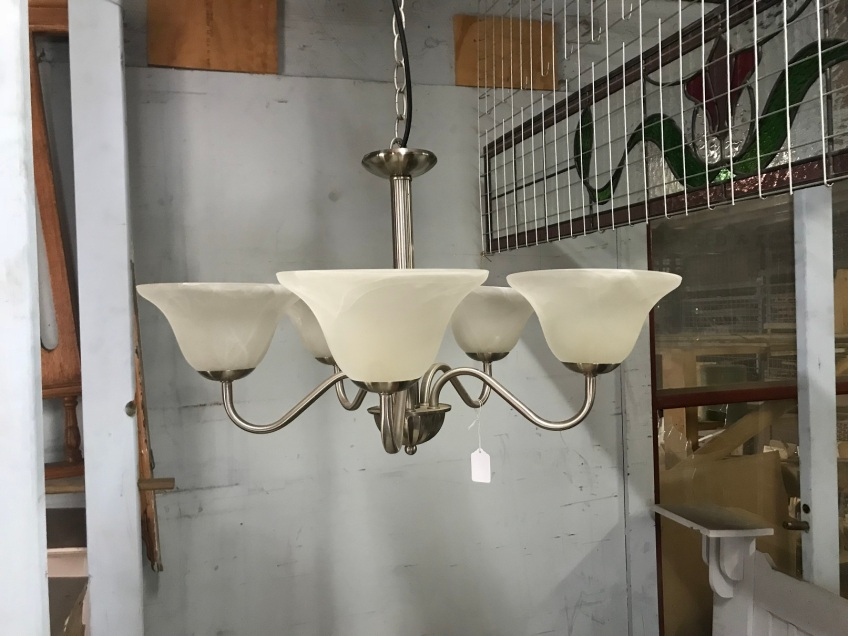 5 branch light , brushed stainless with white shades, approx 500mm wide, approx 1 metre drop, $200salvage recycled demolition, reproduction restoration, renovation, collectable, secondhand, used, original, old, reclaimed heritage, antique restored 5 branch light , brushed stainless with white shades, $200