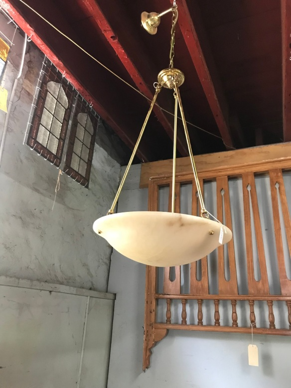 salvage recycled demolition, reproduction restoration, renovation, collectable, secondhand, used, original, old, reclaimed heritage, antique restored hallway , ceiling light with alabaster style bowl, $ 150