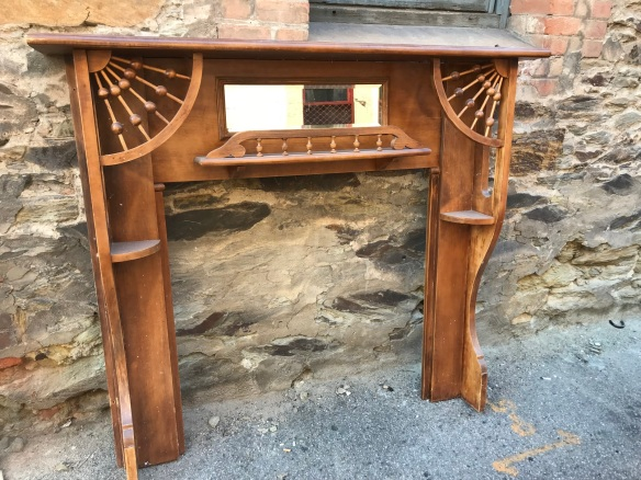 salvaged, recycled,demolition,reproduction,restoration,renovation,collectable,second hand,used,original,old,reclaimed,heritage,antique,restored original Kauri pine Edwardian fire surround, top shelf is 1470 mm long, overall height 1340 mm , $ 440