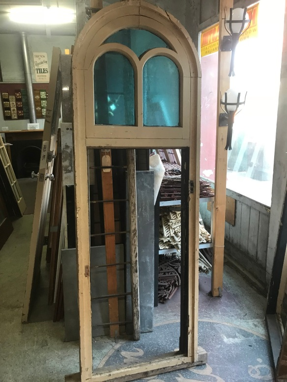 salvaged,recycled,demolition,reproduction,restoration,renovated,collectable,secondhand,used,original,old,reclaimed,heritage,antique,victorian,edwardian,georgian ,deco pair of lovely Victorian arch top windows with blue glass, need casements made for bottom section, 745 mm wide x 2215 mm tall , $ 450 each
