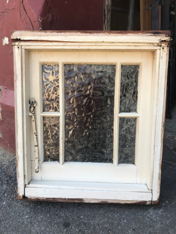 salvaged,recycled,demolition,reproduction,restoration,renovated,collectable,secondhand,used,original,old,reclaimed,heritage,antique,victorian,edwardian,georgian,deco small casement window in frame, rippled glass, 570 mm wide x 675 mm tall , $330