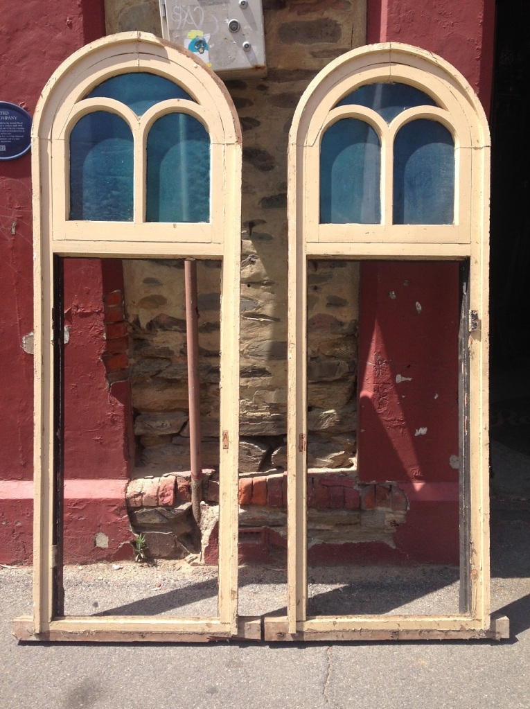 pair of lovely Victorian arch top windows with blue glass, need casements made for bottom section, 745 mm wide x 2215 mm tall , $450 each salvaged, recycled, demolition, reproduction, restoration, renovation, collectable, second hand, used, original, old, reclaimed, heritage, Victorian, Edwardia, Deco, Georgian