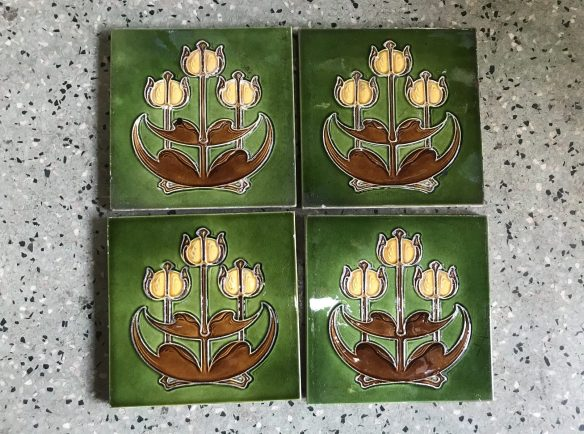 salvaged, recycled, demolition, reproduction, restoration, renovation, collectable, second hand, used, original, old, reclaimed, heritage, Victorian, Edwardia, Deco, Georgian original tiles for fire place, 4 tiles available, 27.50 each . Set 35