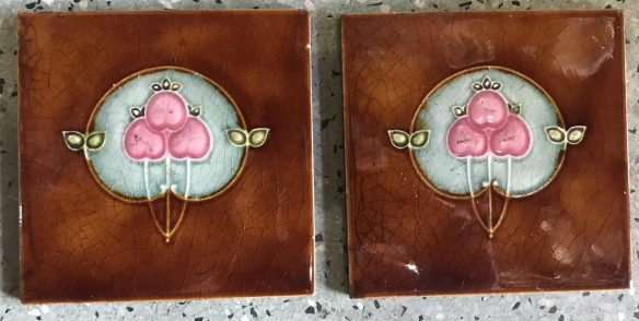 salvaged, recycled, demolition, reproduction, restoration, renovation, collectable, second hand, used, original, old, reclaimed, heritage, Victorian, Edwardia, Deco, Georgian original set of tiles , 4 available , one has some small chips, $ 90 the set . Set 37