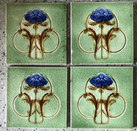 salvaged, recycled, demolition, reproduction, restoration, renovation, collectable, second hand, used, original, old, reclaimed, heritage, Victorian, Edwardia, Deco, Georgian set of 6 original tiles to suit fireplace, $ 150 the set. Set 41