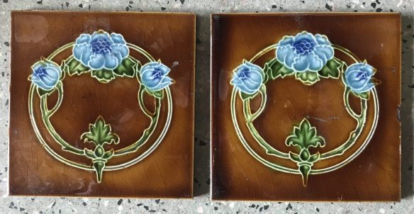 pair of original T R Boote Co fireplace picture tiles 152 mm x 152 mm , $50 the pair. Set 42 salvaged recycled demolition, reproduction, restoration, renovation,collectable, secondhand, used , original, old, reclaimed, heritage, antique, victorian, edwardian, georgian art nouveau ceramic arts and crafts decorative aesthetic