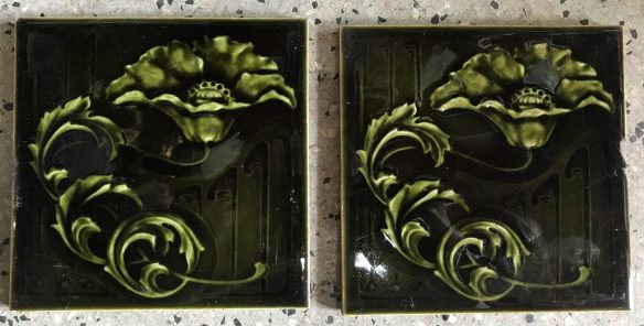salvaged, recycled, demolition, reproduction, restoration, renovation, collectable, second hand, used, original, old, reclaimed, heritage, Victorian, Edwardia, Deco, Georgian pair of original victorian tiles, small chips to one tile. $ 40 the pair. Set 43