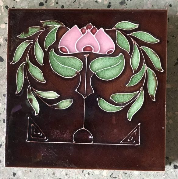 salvaged, recycled, demolition, reproduction, restoration, renovation, collectable, second hand, used, original, old, reclaimed, heritage, Victorian, Edwardia, Deco, Georgian pair of original fireplace tiles, $50 the pair . Set 44