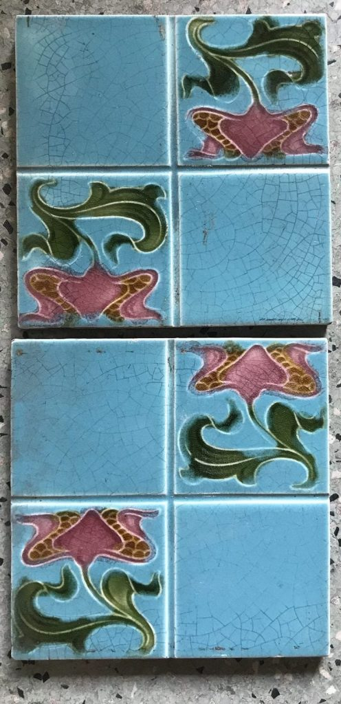 salvaged, recycled, demolition, reproduction, restoration, renovation, collectable, second hand, used, original, old, reclaimed, heritage, Victorian, Edwardia, Deco, Georgian 4 original fireplace tiles, 152 mm x 152 mm , $ 25 each tile . Set45