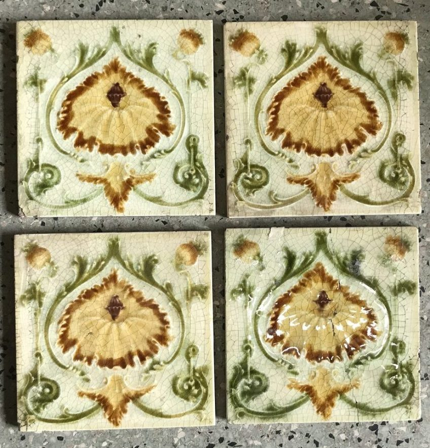 salvaged recycled demolition, reproduction, restoration, renovation,collectable, secondhand, used , original, old, reclaimed, heritage, antique, victorian, edwardian, georgian art nouveau ceramic arts and crafts decorative aesthetic 4 original tiles for fireplace, one tile has been glued, $ 80 the set. Set 47
