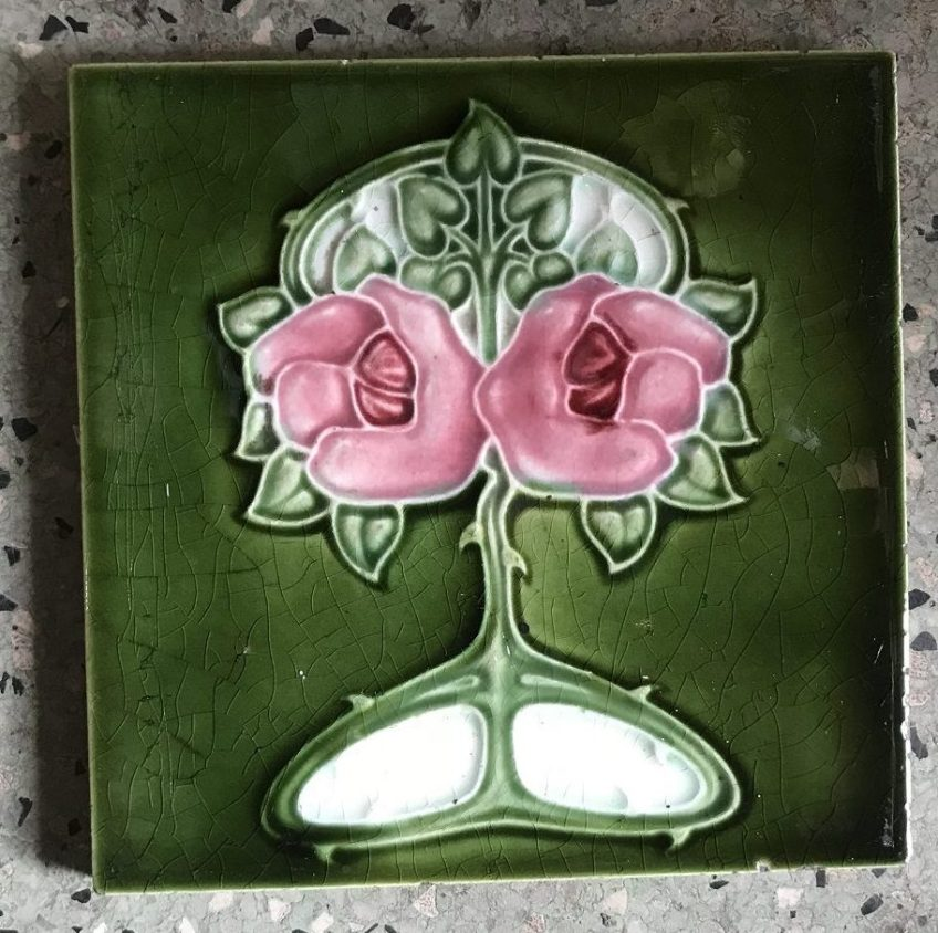 T and R Boote original English fireplace tiles, Art Nouveau, dusty pink roses with green background, $70 pair WS salvaged recycled demolition, reproduction, restoration, renovation,collectable, secondhand, used , original, old, reclaimed, heritage, antique, victorian, edwardian, georgian art nouveau ceramic arts and crafts decorative aesthetic