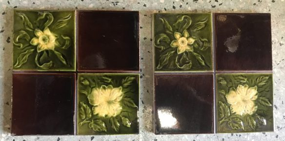 salvaged, recycled, demolition, reproduction, restoration, renovation, collectable, second hand, used, original, old, reclaimed, heritage, Victorian, Edwardia, Deco, Georgian 9 original Victorian fireplace tiles, $ 27.50 each on hold , Set 53