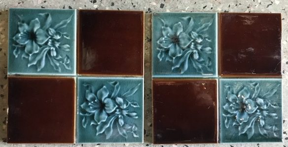 salvaged, recycled, demolition, reproduction, restoration, renovation, collectable, second hand, used, original, old, reclaimed, heritage, Victorian, Edwardia, Deco, Georgian original Victorian fireplace tiles, 12 available, $27.50 each . Set 52