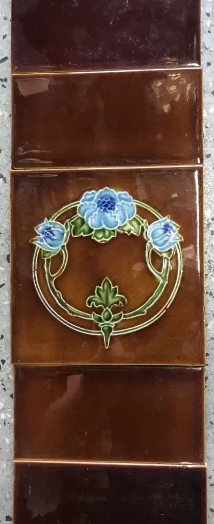 salvaged, recycled, demolition, reproduction, restoration, renovation, collectable, second hand, used, original, old, reclaimed, heritage, Victorian, Edwardia, Deco, Georgian tile set for fireplace, each side consists of 1 picture tile and 8 plain half tiles, $ 150 the set. Set 55