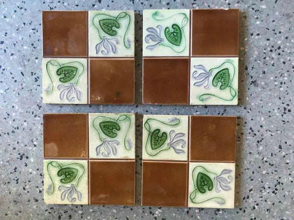 salvaged recycled demolition, reproduction, restoration, renovation,collectable, secondhand, used , original, old, reclaimed, heritage, antique, victorian, edwardian, georgian art nouveau ceramic arts and crafts decorative aesthetic Victorian, Edwardia, Deco, Georgian set of 8 original victorian tiles, $ 27.50 each tile . Set 56