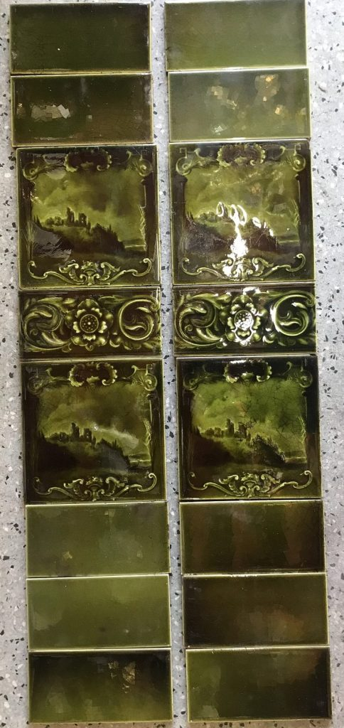 salvaged recycled demolition, reproduction, restoration, renovation,collectable, secondhand, used , original, old, reclaimed, heritage, antique, victorian, edwardian, georgian art nouveau ceramic arts and crafts decorative aesthetic , heritage, Victorian, Edwardia, Deco, Georgian original tile set for fire grate, each side has 2, 6 inch x 6 inch picture tiles one patterned half tile and 5 plain half tiles, 160 the set . Set58