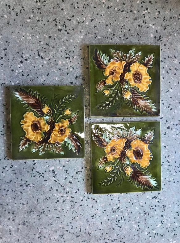 salvaged, recycled, demolition, reproduction, restoration, renovation, collectable, second hand, used, original, old, reclaimed, heritage, Victorian, Edwardia, Deco, Georgian 3 picture tiles , 6 inch x 6 inch , $ 27.50 each . Set 59