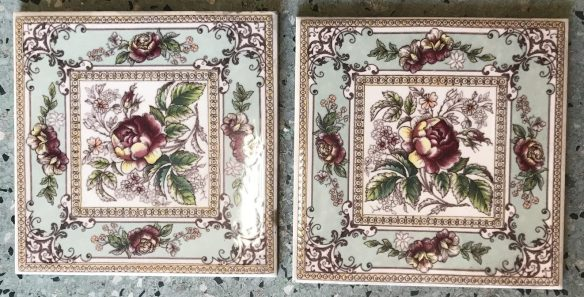 salvaged recycled demolition, reproduction, restoration, renovation,collectable, secondhand, used , original, old, reclaimed, heritage, antique, victorian, edwardian, georgian art nouveau ceramic arts and crafts decorative aesthetic Victorian, Edwardia, Deco, Georgian set of 4 picture tiles, $30 each. Set 61