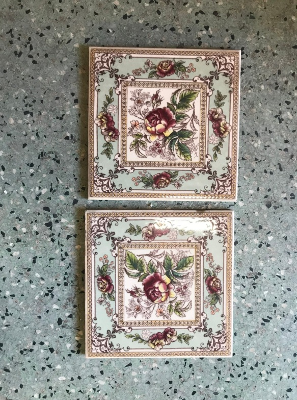 salvaged, recycled, demolition, reproduction, restoration, renovation, collectable, second hand, used, original, old, reclaimed, heritage, Victorian, Edwardia, Deco, Georgian set of 4 picture tiles, $30 each. Set 61