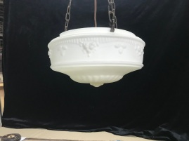 salvaged, recycled, demolition, reproduction, restoration, renovation, collectable, second hand, used, original, old, reclaimed, heritage, Victorian, Edwardia, Deco, Georgian original bowl and chain light with ceiling gallery ( light C ), some damage to rim where chains connect , $160