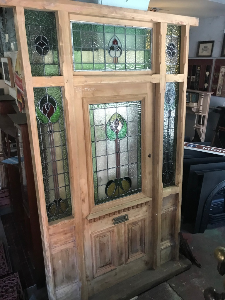 salvaged, recycled, demolition, reproduction, restoration, renovation, collectable, second hand, used, original, old, reclaimed, heritage, Victorian, Edwardia, Deco, Georgian original Victorian stripped front door frame with leadlight , 1540 mm wide x 2730 mm high including Jarah step .$3500