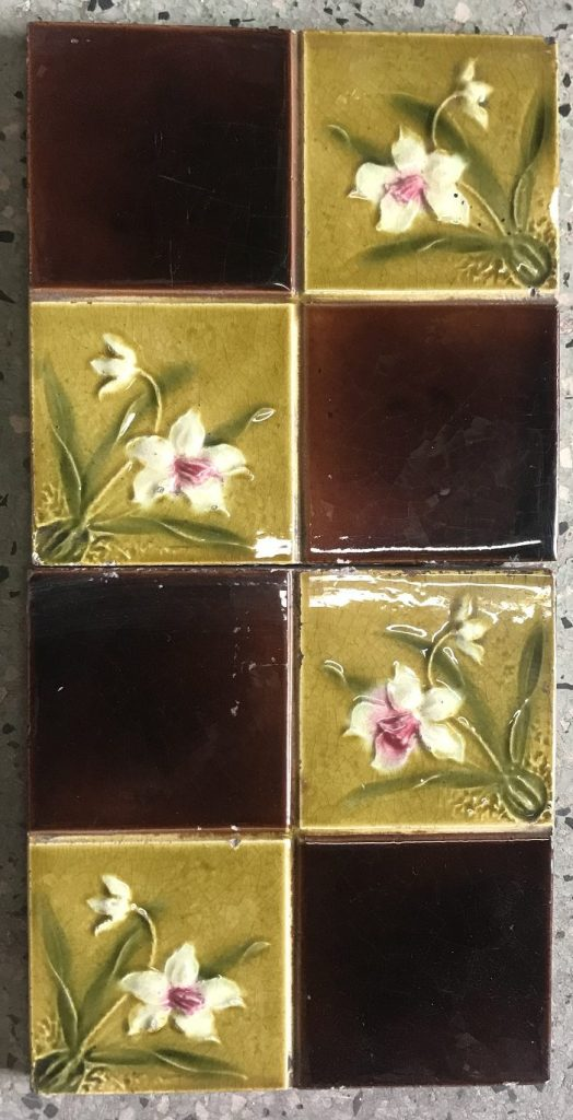 salvaged recycled demolition, reproduction, restoration, renovation,collectable, secondhand, used , original, old, reclaimed, heritage, antique, victorian, edwardian, georgian art nouveau ceramic arts and crafts decorative aesthetic , original, old, reclaimed, heritage, Victorian, Edwardia, Deco, Georgian original Victorian picture tiles, 4 available , $110 the set. Set62