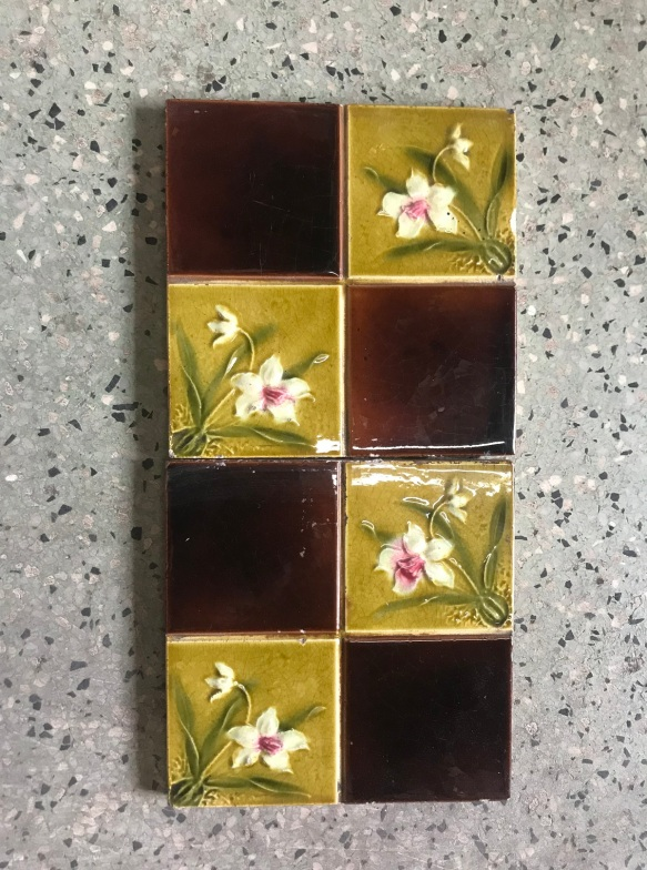 salvaged, recycled, demolition, reproduction, restoration, renovation, collectable, second hand, used, original, old, reclaimed, heritage, Victorian, Edwardia, Deco, Georgian original Victorian picture tiles, 4 available , $110 the set. Set62