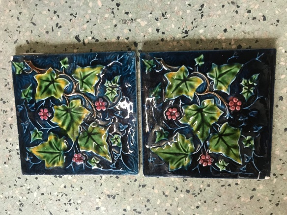 salvaged, recycled, demolition, reproduction, restoration, renovation, collectable, second hand, used, original, old, reclaimed, heritage, Victorian, Edwardia, Deco, Georgian set of four original victorian picture tiles, $ 110 the set . Set 64