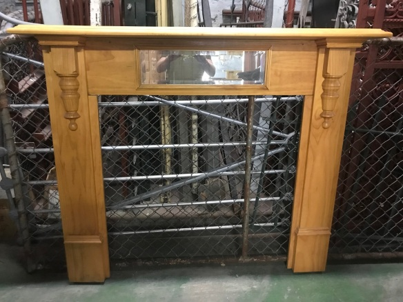 salvaged, recycled, demolition, reproduction, restoration, renovation, collectable, second hand, used, original, old, reclaimed, heritage, Victorian, Edwardia, Deco, Georgian reproduction pine mantle, top shelf 1440 mm , height 1200mm , $ 160