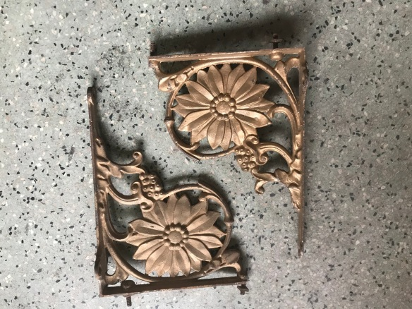 salvaged, recycled, demolition, reproduction, restoration, renovation, collectable, second hand, used, original, old, reclaimed, heritage, Victorian, Edwardia, Deco, Georgian Pair of shelf brackets with sun flower motif . 270 mm deep . $45 the pair