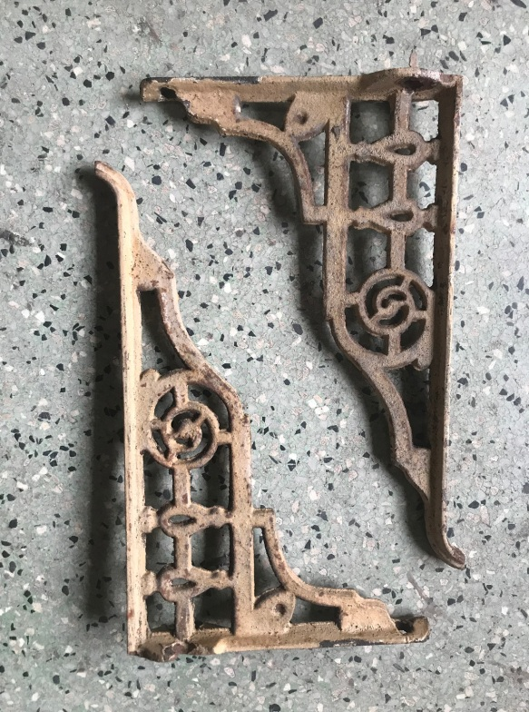 salvaged, recycled, demolition, reproduction, restoration, renovation, collectable, second hand, used, original, old, reclaimed, heritage, Victorian, Edwardia, Deco, Georgian Ornate pair of shelf brackets , 255 mm deep , would suit glass shelf . $ 50 the pair