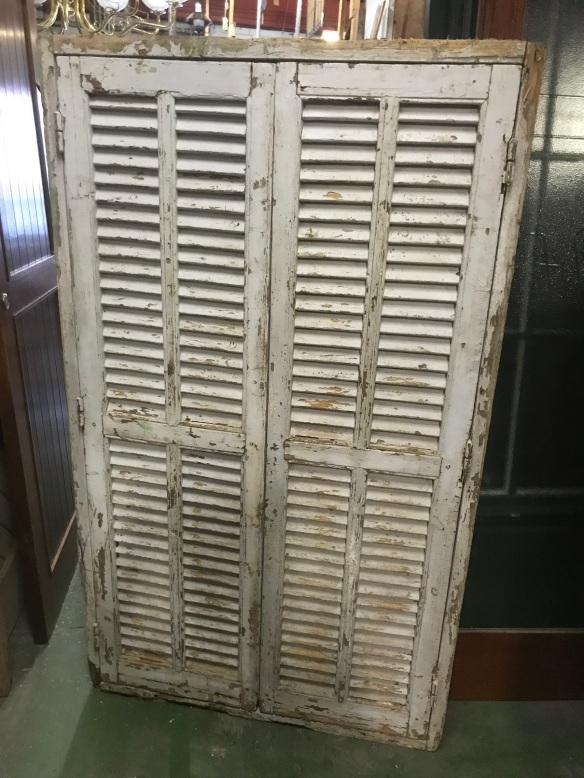 salvaged, recycled, demolition, reproduction, restoration, renovation, collectable, second hand, used, original, old, reclaimed, heritage, Victorian, Edwardian, Art Deco, Georgian Reverse side of french windows, showing louvres