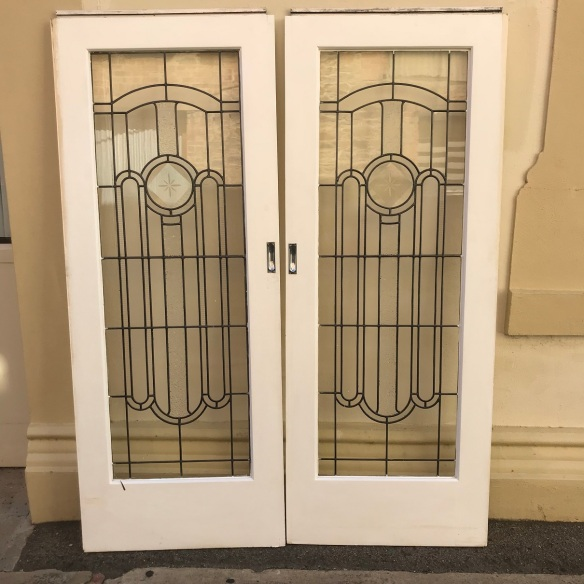 salvaged, recycled, demolition, reproduction, restoration, renovation, collectable, second hand, used, original, old, reclaimed, heritage, Victorian, Edwardian, Art Deco, Georgian Lovely pair of art deco cut glass sliding doors, each door is 790 mm x 2010 mm, $ 880 the pair