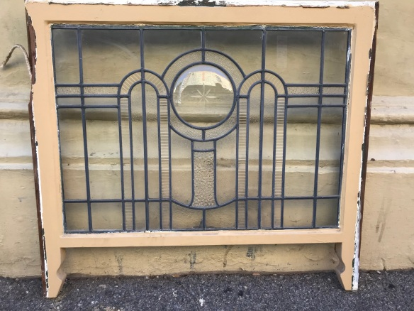 salvaged, recycled, demolition, reproduction, restoration, renovation, collectable, second hand, used, original, old, reclaimed, heritage, Victorian, Edwardian, Art Deco, Georgian Art Deco leadlight windows , with cut glass and a slumped glass circular panel , 8 available, frame size is 810 mm x 585 mm , glass size is 705 mm x 500 mm , $ 285 each